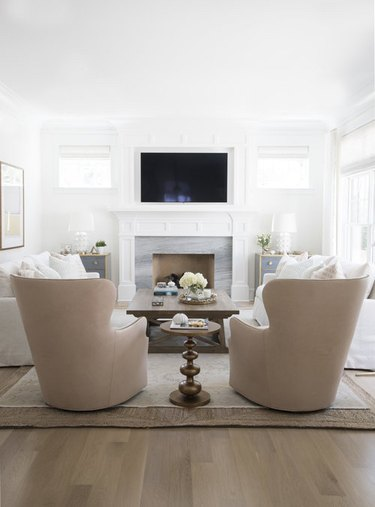 traditional living room with symmetrical furniture layout