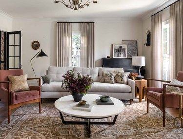 traditional living room with earthy color palette