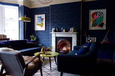 family room carpet ideas with carpet tiles and blue sofa