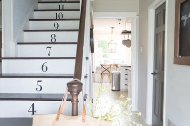 painted stairs with numbered steps