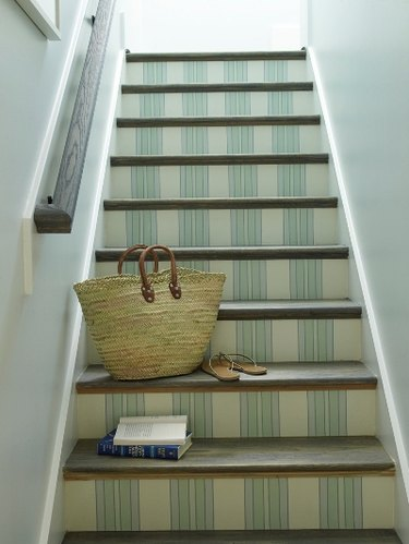 painted stairs with vertical stripes