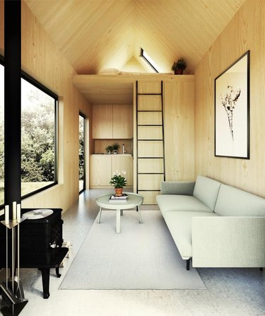 modern tiny house with Scandi style living room