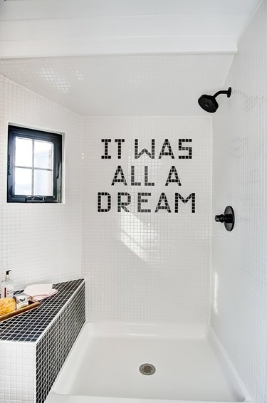 modern tiny house idea for bathroom with black and white tiles