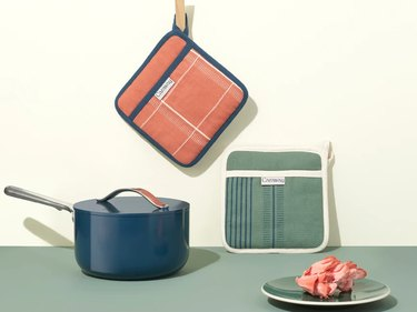 kitchen cookware and pot holders in various colors