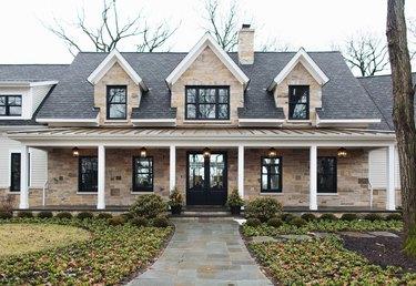 farmhouse front door idea with double glass doors that match window design