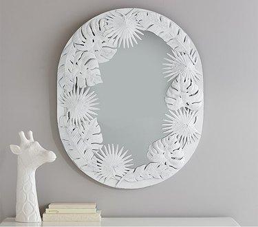 White Oval Palm Mirror