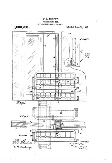 """William Lawrence Murphy's original """"Disappearing Bed"""" patent."""