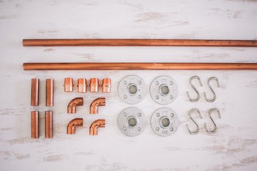 Various pipe components for copper rail system