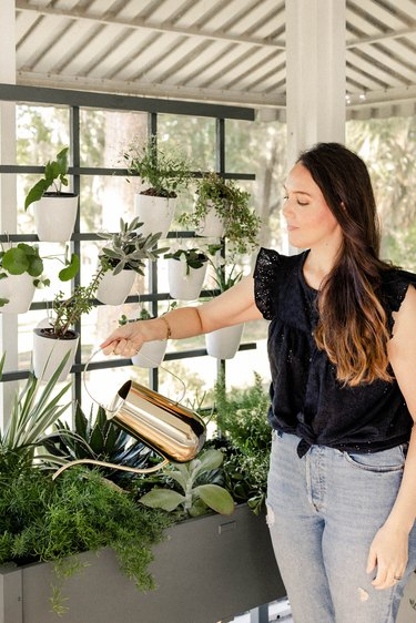 Woman watering plants in vertical garden with gold watering can
