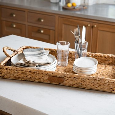 woven tray with dishes