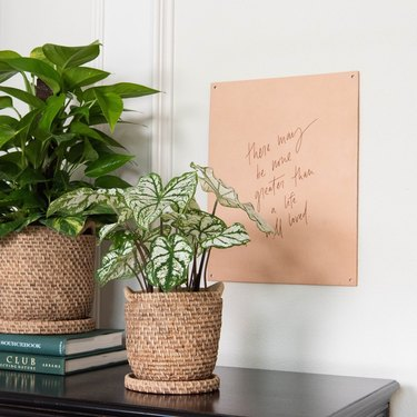 two plants in woven baskets with wall art nearby