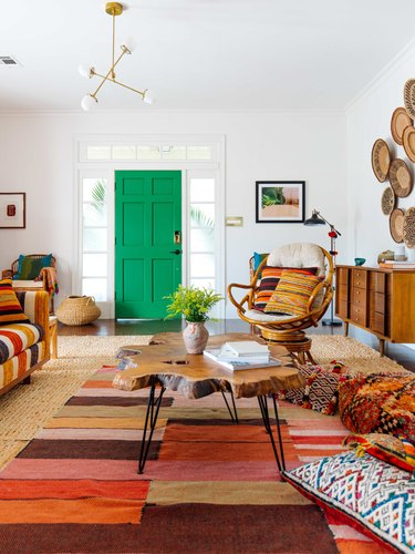 green front door color with bohemian living room
