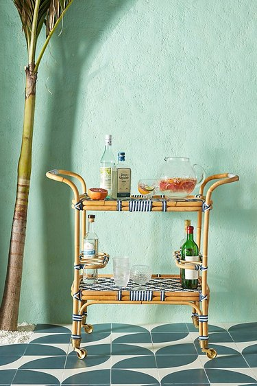 anthropologie woven bar cart