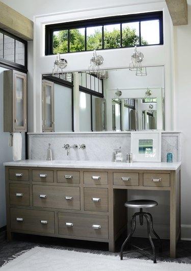 bathroom windows border in master bath