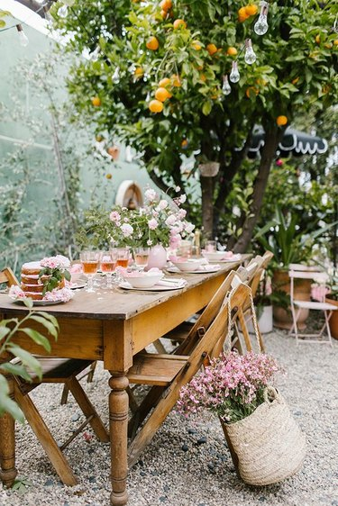 Parisian inspired garden party with pink decor