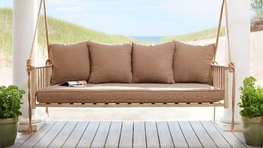 Hampton Bay Cane Patio Outdoor Patio Swing with Square Back Cushions, $749