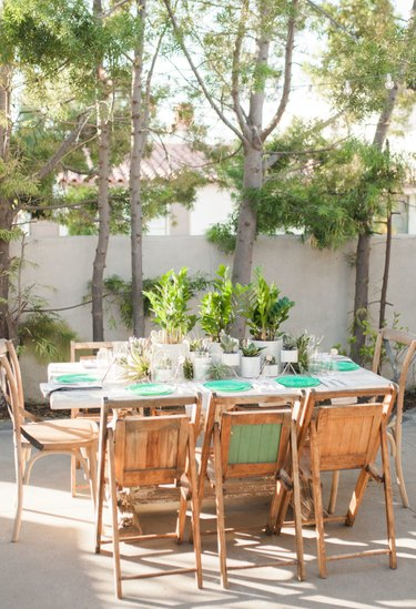 rustic garden party with plant centrepieces