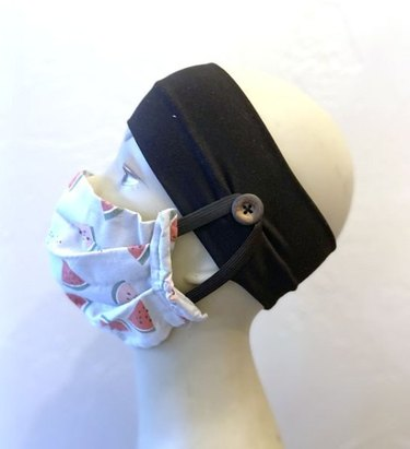 mannequin with face mask and headband