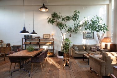 rustic industrial decor in living room and dining space with industrial lights