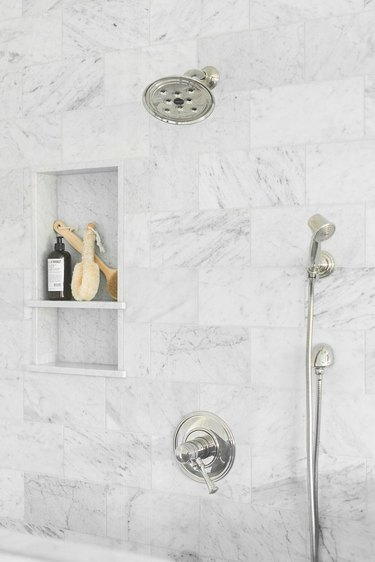 bathroom organization idea for marble shower