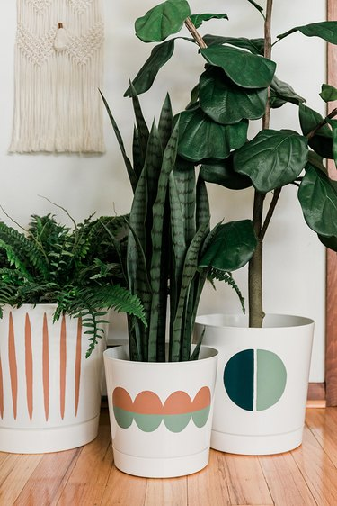 Can you believe these mod designer-inspired pots used to be just boring white?