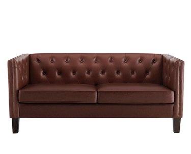 chocolate midcentury faux leather sofa