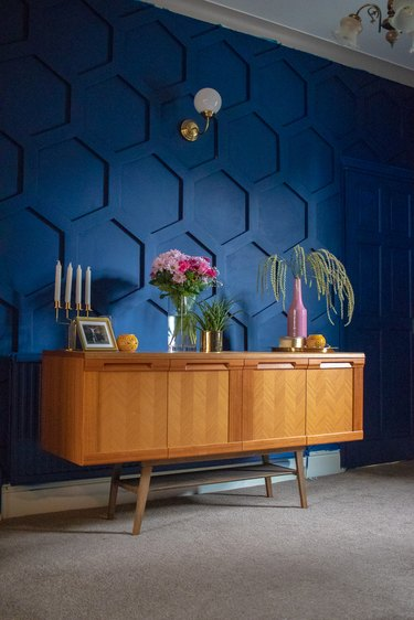 Pantone Color of the Year Classic Blue on a geometric accent wall