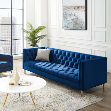 tuxedo traditional style sofa in vibrant blue, The Home Depot