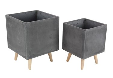 Decmode Contemporary Black Fiber Clay and Bead Wood Box Planters