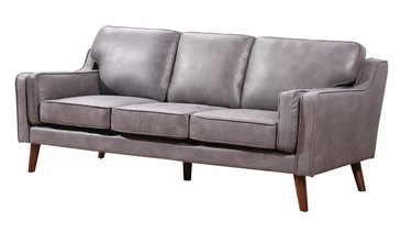 charcoal faux leather couch