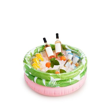 Pink and green leaf-printed inflatable drink cooler