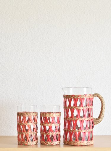 Vintage Rattan Carafe and Glass Set, $40