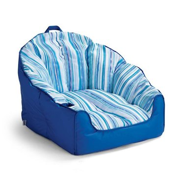 Blue and white striped pool chair