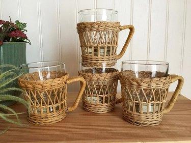 Vintage Wicker Mug Set, $32