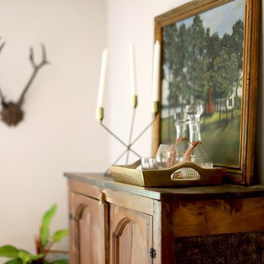 rustic living room bar idea with glass decanters