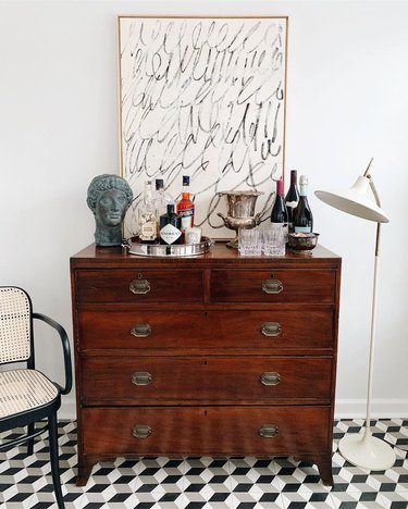living room bar idea at home on a budget