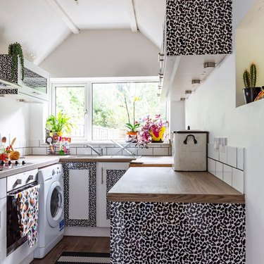 maximalist kitchen with contact paper kitchen cabinets