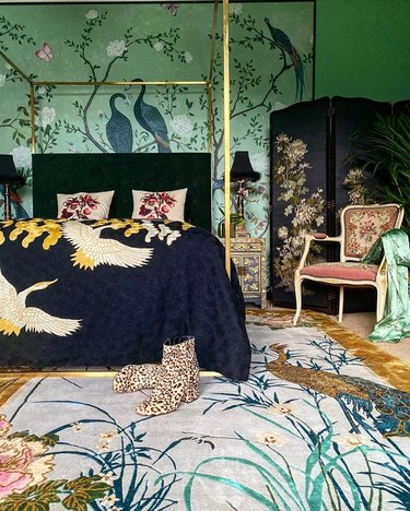 maximalist bedroom with different patterns