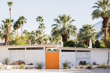 midcentury modern home with orange door and palm trees in the background