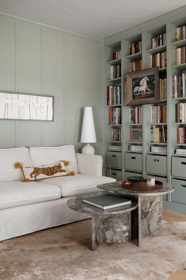 Modern den with sage color walls and bookshelf