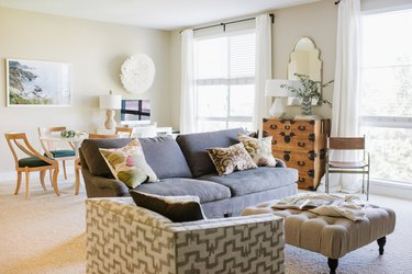 eclectic beige living room idea by maggie stephens interiors