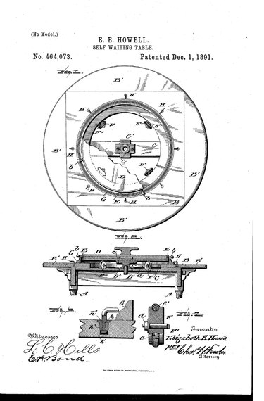 "Elizabeth Howell's 1891 ""Self Waiting Table"" patent"