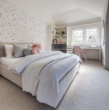 Youthful terrazzo bedroom wallpaper idea