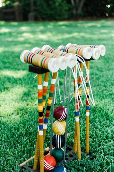 colorful croquet sticks for lawn games