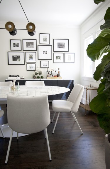midcentury white dining room