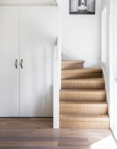 sisal stair carpet idea in white entryway with windows