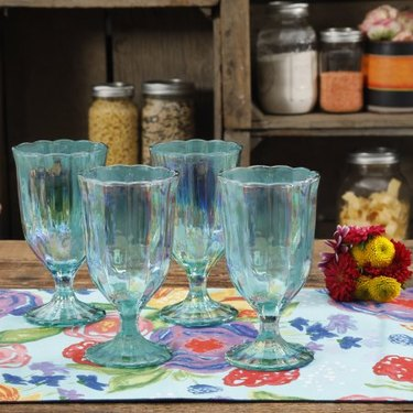 The Pioneer Woman Luster Green Pearlized Goblet