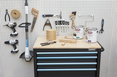 HART tools organized on a pegboard