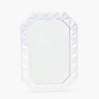 Lacquered Wooden Mirror With Raised Geometric Design