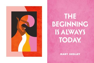 """illustration of person with text nearby that reads """"the beginning is always today"""""""